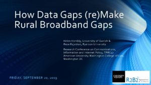 Power Point presentation on How Data Gaps (re)Make Rural Broadband Gaps